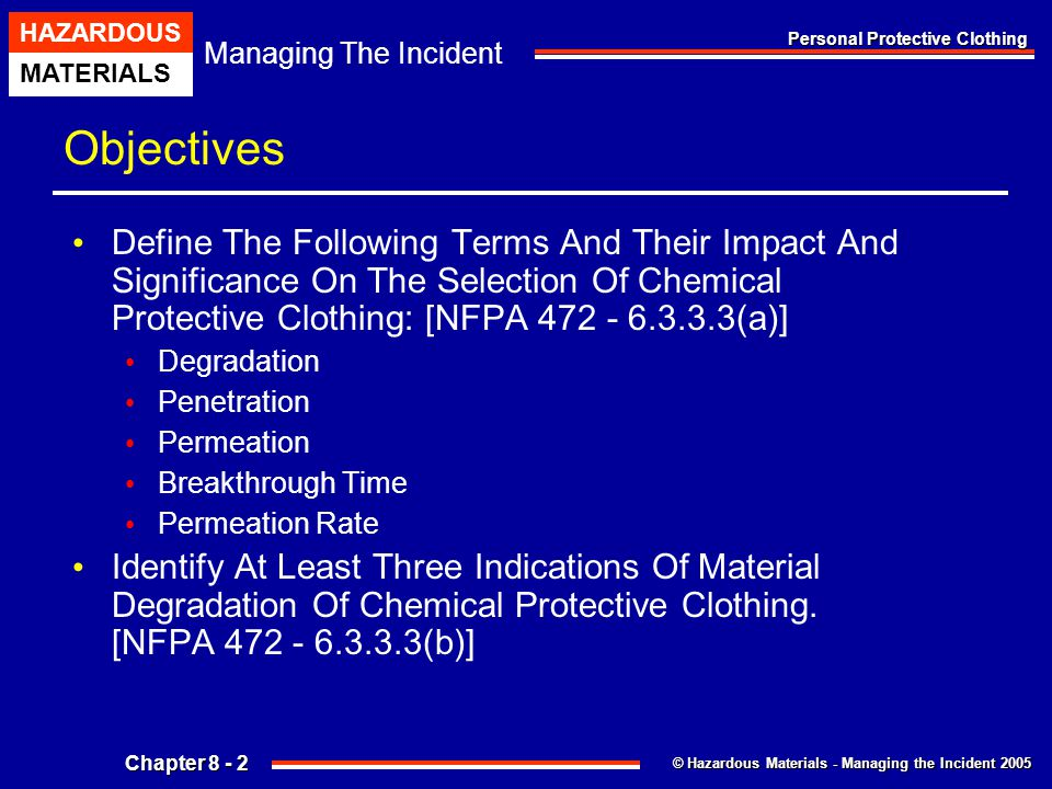 Objectives Define The Following Terms And Their Impact And Significance On The Selection Of Chemical Protective Clothing: [NFPA 472 - 6.3.3.3(a)]